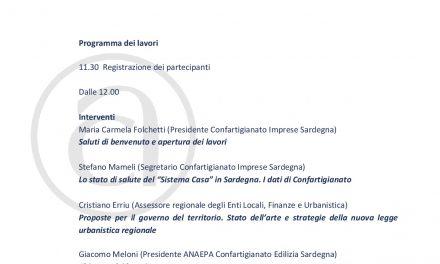 EDILIZIA–Nuova Legge Urbanistica: sabato 21 a Cagliari confronto tra Confartigianato Sardegna e l'Assessore Regionale, Cristiano Erriu
