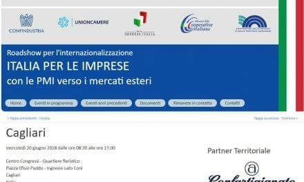 EXPORT-ROADSHOW ICE IN SARDEGNA – Formazione e piani personalizzati per l'internazionalizzazione per oltre 200 imprese isolane. Appuntamento il 20 giugno a Cagliari.