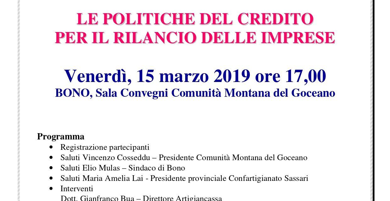 GOCEANO–Il credito alle aziende artigiane e commerciali per far ripartire il territorio. Venerdì 15 marzo a Bono (SS)