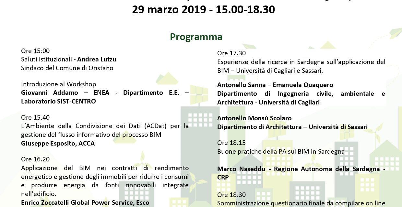 """COSTRUZIONI-SEMINARIO REGIONALE """"BIM"""", BUILDING INFORMATION MODELING-ORISTANO 29 MARZO 2019"""