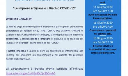 """""""le imprese artigiane della sardegna e il rischio sars-cov-2""""- 4 seminari gratuiti on line per aziende e dipendenti"""
